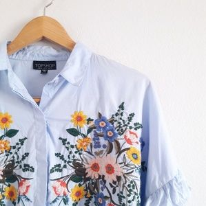 TopShop Blue Floral Embroidered Cotton Top
